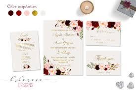marsala wedding invitation suite burgundy pink digital gold