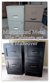 Wood File Cabinet 4 Drawer Vertical by Mismatched Metal File Cabinets Get A Makeover Scavenger Chic