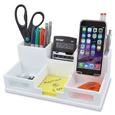White Desk Organizer Victor W9525 White Desk Organizer With Smart Phone Holder