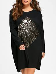 plus size sequin embellished tunic dress in black one size