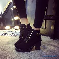 womens black boots sale cheap winter high heeled boots heel lace