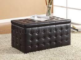 Modern Storage Bench Dark Brown Vinyl Button Tufted Modern Storage Bench W 2 Ottomans