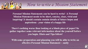 Mission Statement Examples For Resume How To Write Personal Mission Statements Youtube