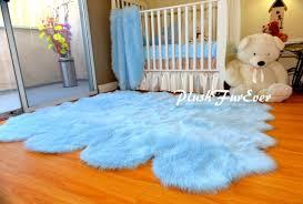 Baby Area Rug 5 U0027 X 6 U0027 Baby Blue Sheepskin Pelts Nursery Boy Rug Shaggy Flokati