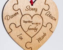personalised wood ornament custom engraved puzzle wooden tree