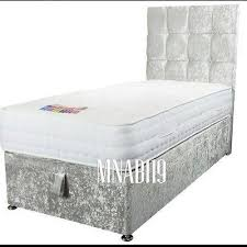 single 3ft ottoman storage bed silver crushed velvet diamond