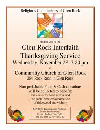 glen rock community interfaith thanksgiving service to be held