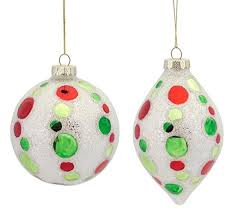 and green beaded polka dot glass ornaments set of 2 oodles