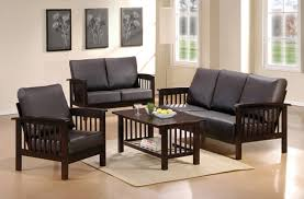 Wooden Sofa Furniture Small Living Room With Black Wooden Sofa Sets Design Modern