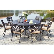 dining room table with lazy susan darlee sedona 9 piece cast aluminum patio dining set with lazy