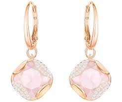 pink earrings heap square pierced earrings pink gold plating jewelry