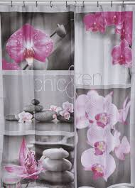 Pink And Gray Shower Curtain by Printed Polyester Shower Curtain Chic U0026 Zen Gray 71w X 79h