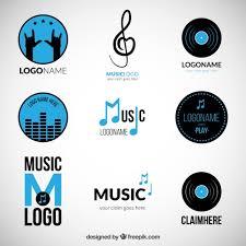 imagenes logos musicales variedad de logos azules de música descargar vectores gratis
