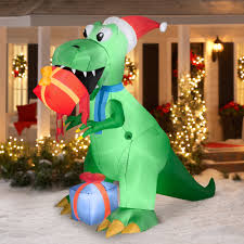 7 5 u0027 t rex with present airblown inflatable christmas prop