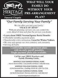 funeral pre planning heritage casa grande funeral home memorials pinalcentral