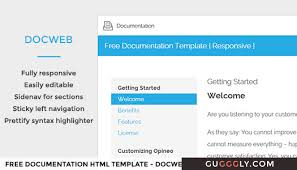 free documentation html template docweb gugggly