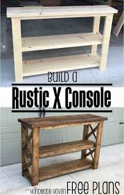 rustic x console table build this easy fun diy rustic x console free step by step