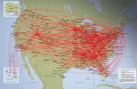 Piedmont Airlines Route Map by Airline Timetables January 2009
