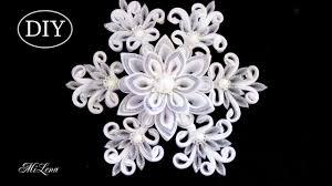 снежинка канзаши мк diy kanzashi christmas snowflake бантики