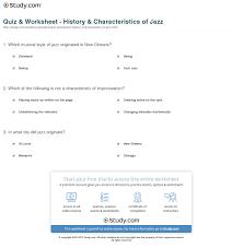 quiz u0026 worksheet history u0026 characteristics of jazz study com