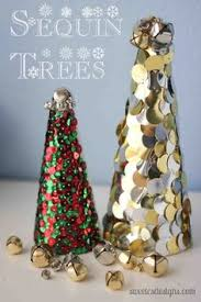 Christmas Decorations You Can Make At Home - glue odd buttons sequins or even washi tape to green foam cones