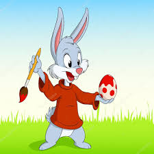 cartoon easter rabbit paint the egg u2014 stock vector acidburn 6737470