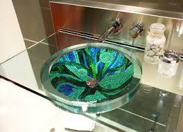 buy a hand made bubbles and waves glass mosaic bathroom sink
