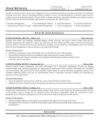 Resume Samples For Professionals by Event Planner Resume Example Professional Life Resumes