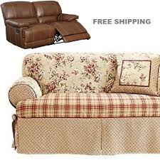 dual reclining loveseat slipcover t cushion shabby toile red sure fit