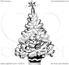 cartoon of a sketched black and white christmas tree royalty