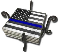 Subdued American Flag With Thin Blue Line Law Enforcement Abrotherhood
