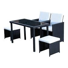 Outdoor Rattan Dining Chairs Outsunny 5 Piece Outdoor Rattan Wicker Dining Set Dining Sets