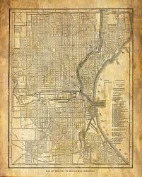 Map Of Milwaukee Wisconsin by Milwaukee Map Street Map Vintage Grunge Sepia Poster Print