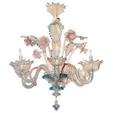 Chandelier Pink Lovely Antique Blue And Pink Murano Glass Chandelier At 1stdibs