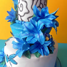 blue lilies tattoo cake with sugar skull and blue lilies cakecentral