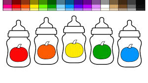 learn colors for kids and color halloween baby bottles coloring