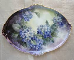 painted platter painted platter tray porcelain painting signed sue powell 16