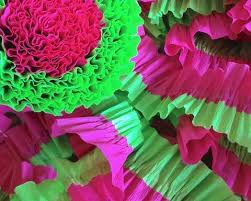 ruffled streamers purple and pink party decorations