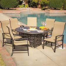 Patio Furniture Sets With Fire Pit by Acadia 7 Piece Sling Patio Fire Pit Dining Set By Lakeview Outdoor