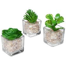 amazon com modern clear glass planter pot faux plants mini