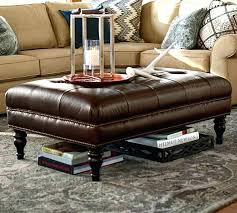 ottoman tufted leather ottoman with optional shelf cool leather
