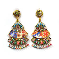 metal earings handmade metal earrings with resham thread size 3 5 inch rs
