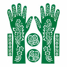 henna stencil tattoo self adhesive hand 6 pieces hndset 4
