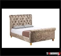 Velvet Sleigh Bed Crushed Velvet Sleigh Bed