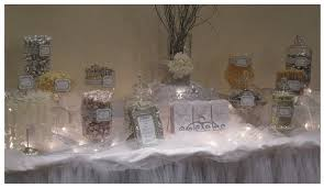 white and silver candy buffet