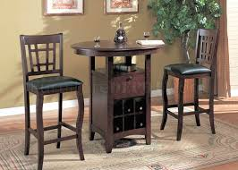 Bar Stool Sets Of 3 Brown Finish Modern 3 Pc Bar Table Stools Set W Wine Rack