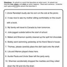adverb worksheet 2 circle u0026 underline