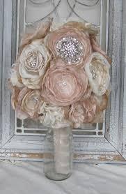 Shabby Chic Wedding Bouquets by Bridal Brooch Bouquet Wedding Bouquet Rhinestone Bouquet Fabric