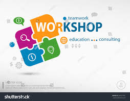 workshop word cloud on colorful jigsaw stock vector 540101491