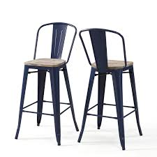 Tabouret Bistro Chair Carbon Loft Tabouret Bistro Wood Seat Navy Bar Stools Set Of 2